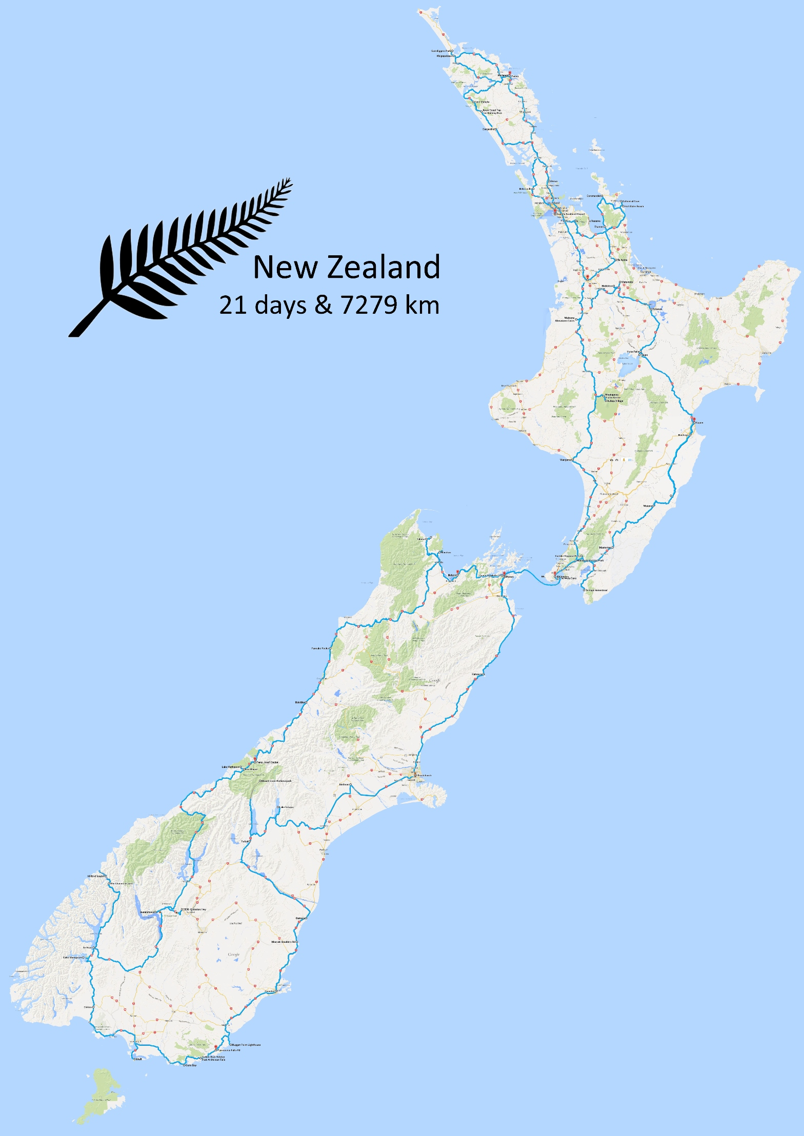 New Zealand - Tour map